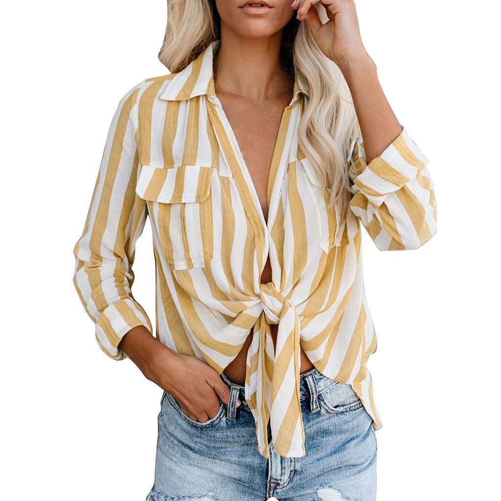 TWGONE Knot Front Top 3//4 Sleeve Womens Casual Striped Roll Up Long Sleeve Tie Knot Front Button Down Shirt