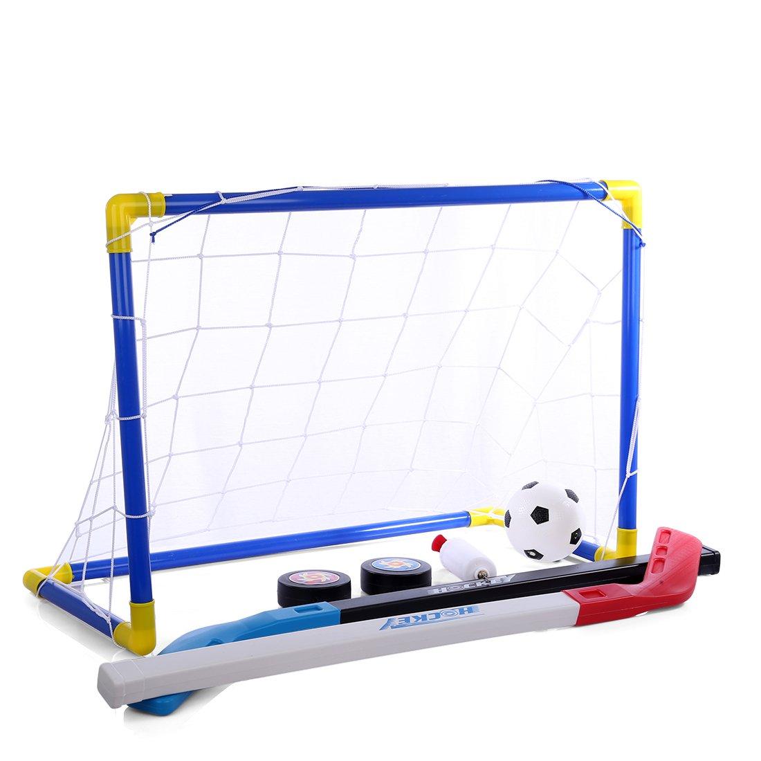 Kids Soccer Goal RuiyiF 2-In-1 Soccer Goal Net Ice Hockey Puck Set for Kids Toddlers Indoor Outdoor Backyard