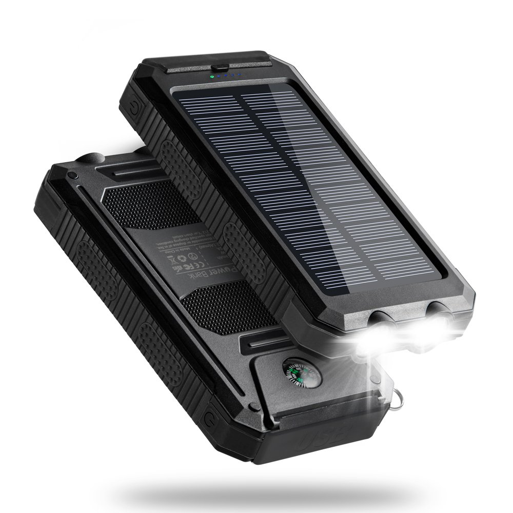 Solar Charger, 10000mAh Solar Phone Charger, Titita Waterproof/Shockproof/Dustproof Solar Power Bank Dual USB Battery Bank with 2 LED Light Carabiner for Emergency Travelling Camping, iPhone, Android