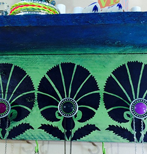Reclaimed wood floating wall shelves /colorful accent shelving recycled pallet wood shelf Art Deco stenciled design 4 green hooks 3 knobs (Recycled Shelves Pallet)