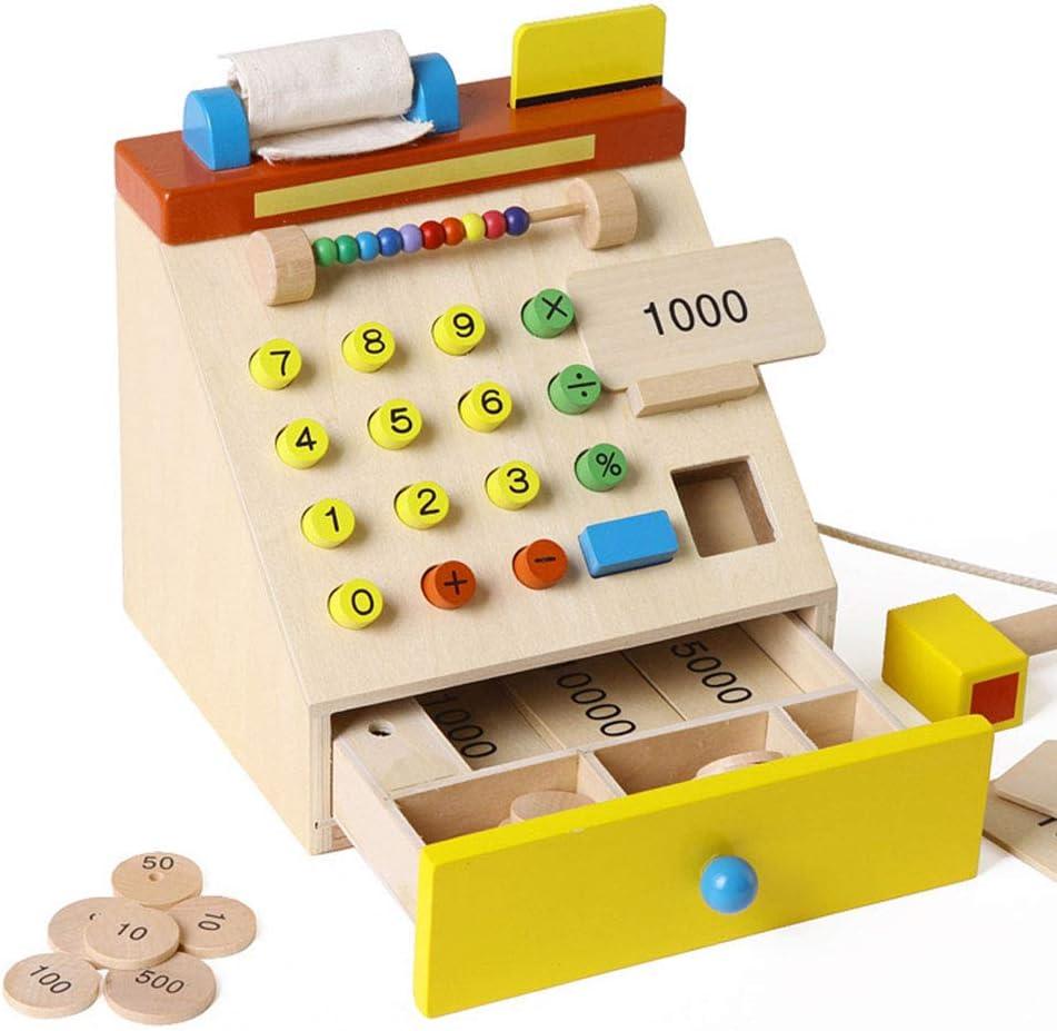 Persevering Melody - Toy Caja registradora de Madera de la simulación, Juguetes educativos, Juguete de la matemáticas del cajero del supermercado del bebé: Amazon.es: Deportes y aire libre