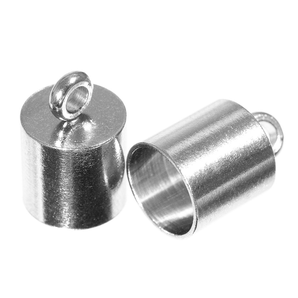 Craft County 10 Pieces 12mmX7mm and 13mmX8mm Stainless Steel Silver Smooth Cord End Caps Finding DIY Supplies