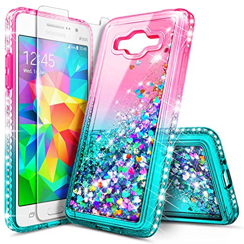 Galaxy Grand Prime Case, J2 Prime Case with Screen Protector for Girls Kids Women, NageBee Glitter Liquid Bling Floating Waterfall Cute Case for Samsung Galaxy Go Prime (G530-AT&T) -Pink/Aqua