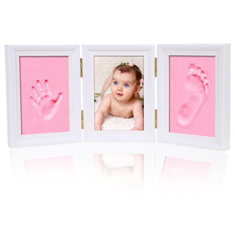 mtsugar Baby Handprint & Footprint Photo Frame Kit-Perfect Baby Shower Gifts/Memorable Keepsake/Decoration/Safe Inkpad Clay, for Newborn boys and girls