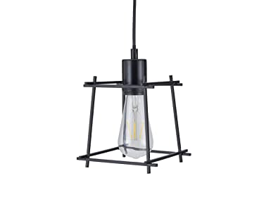 Archiology Hanging Pendant Lighting, Overhead Lamp Modern Steel Cage Light for Kitchen Island, Living Room with 60 Cable – Black