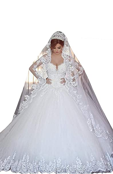 Changjie Mujeres Vestido de novia de manga larga Apliques de encaje Sin mangas largas Vestido de novia de la boda: Amazon.es: Ropa y accesorios