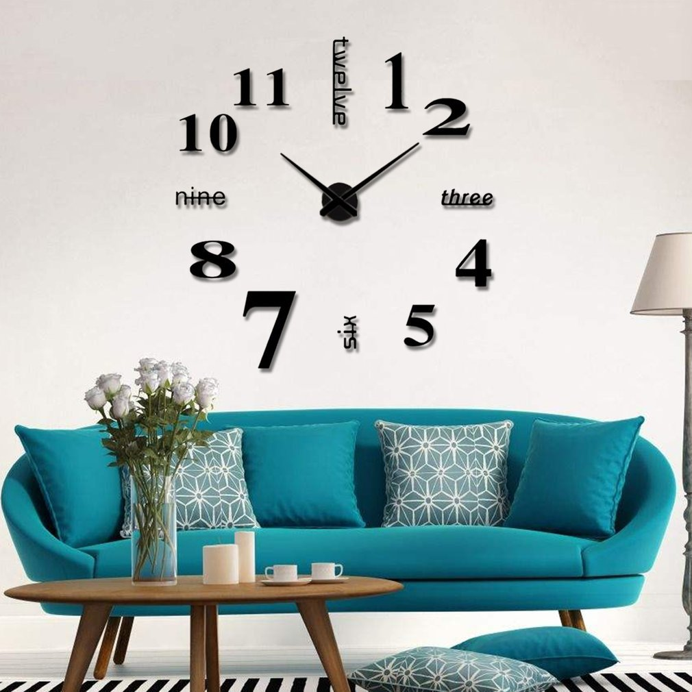 Yogasada Living Room Large Art Design 3D DIY EVA Hanging Wall Clock Mirror Decoration