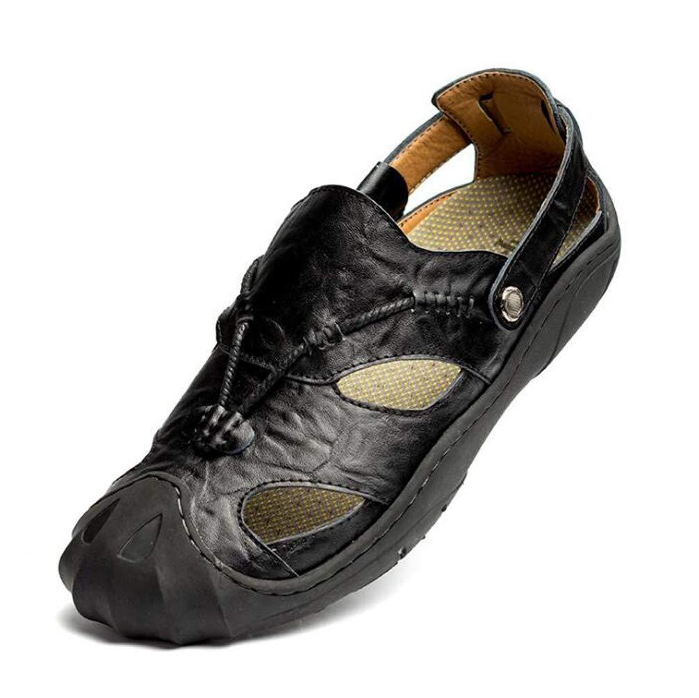 YWNC Zapatillas De Deporte Al Aire Libre De Cuero De Vaca Respirable para Hombre Zapatillas 38-46 2018 Zapatillas De Playa De Verano De Gran Tamaño Nuevo,Black,42 42|Black