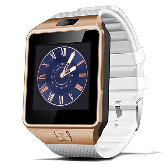 Padgene DZ09 Bluetooth Smart Watch with Camera for Samsung, Nexus, HTC, Sony, LG and Other Android Smartphones (Gold (White Band))