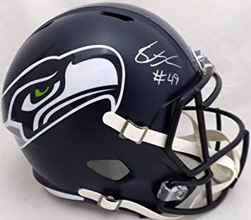 SHAQUEM GRIFFIN AUTOGRAPHED SEATTLE SEAHAWKS FULL SIZE SPEED REPLICA HELMET  IN SILVER MCS HOLO STOCK   3123194f8