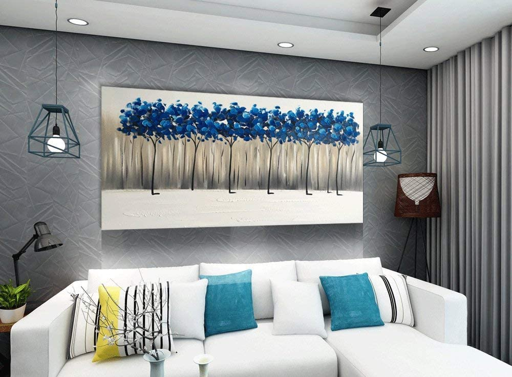20Wx40L Yihui Arts Handmade Living Room Wall Pictures Blue Landscape Painting Abstract Tree Canvas Art