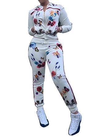 57b3f4a796f5 Womens Floral Print Zip-Up Tracksuit 2 Piece Jacket Suit Joggers Jog Set  White S