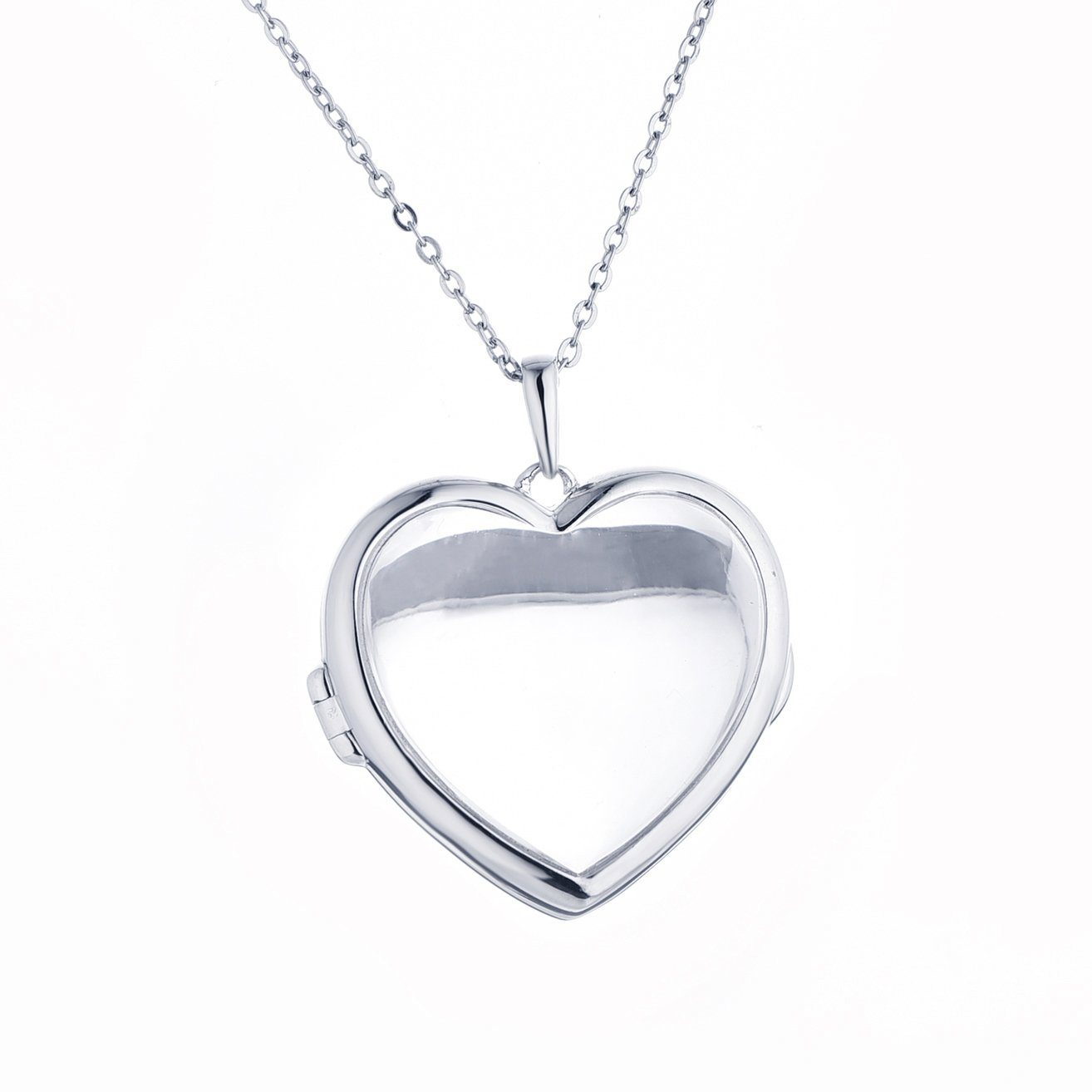 Sterling Silver-Glass-Custom Photo Locket Necklace-34-inch chain-The Nina by With You Lockets by With You Lockets (Image #1)