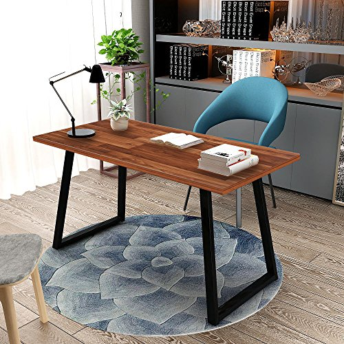 Computer Desk, Tribesigns 55'' Rustic Writing Desk with Heavy-Duty Metal Base, Industrial Vintage Home Office Desk Works As Study Table Or PC Laptop Table(Autumn Oak.) by Tribesigns
