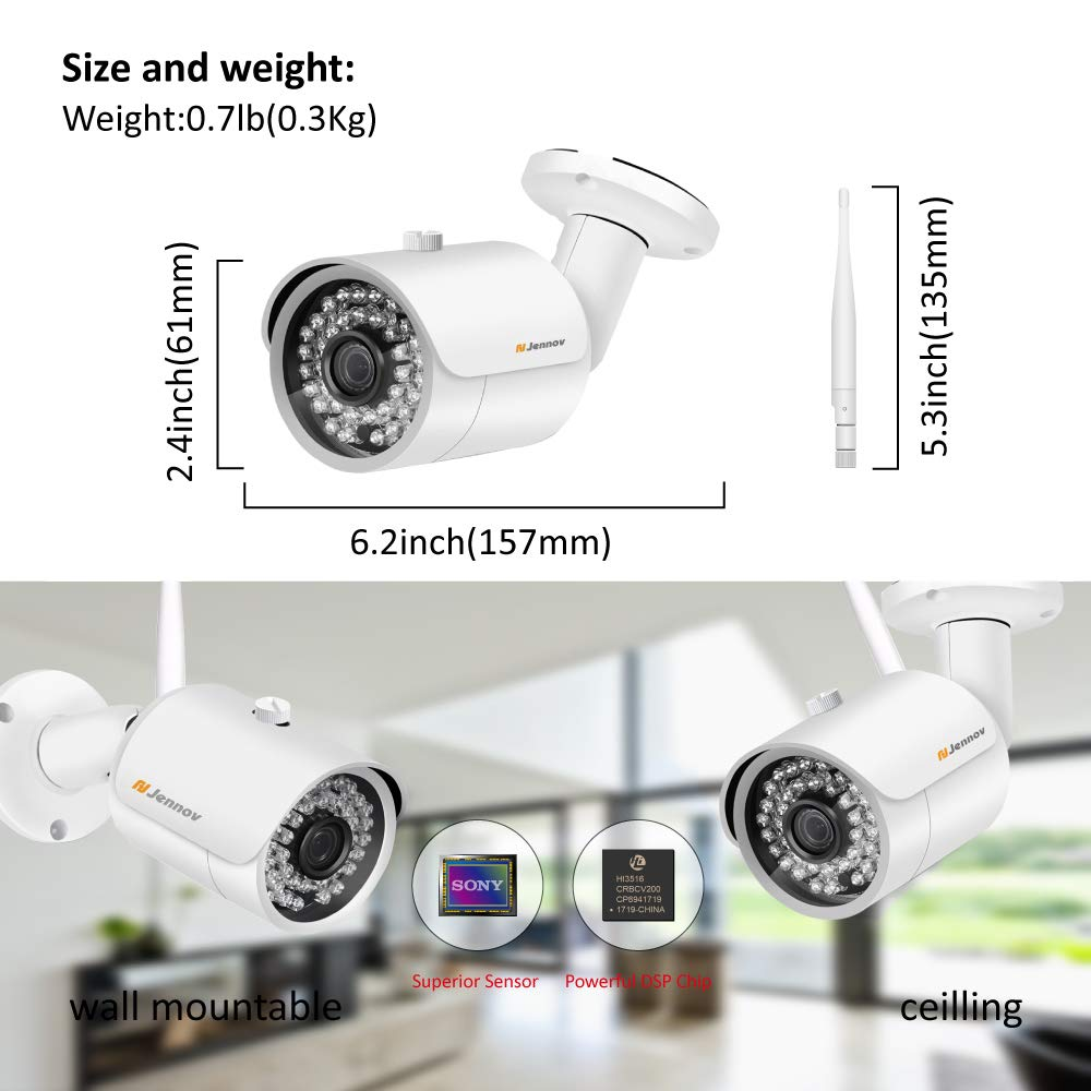 【Newest Strong WiFi Arrival】Jennov Security Camera System Outdoor Wireless 4 Channel HD 1080P WiFi Home IP Video Surveillance Night Vision NVR Kit With Pre-installed 1TB Hard Drive Free Remote Access by Jennov (Image #3)