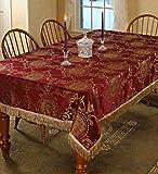 Violet Linen Prestige Damask Design Oblong/Rectangle Tablecloth, 52' x 70', Burgundy