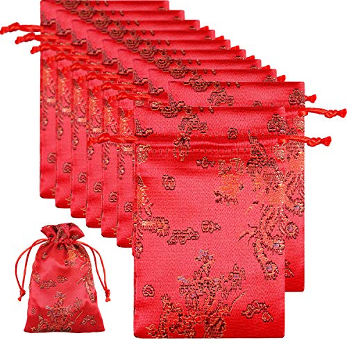 Frienda 10 Pack Fortune Red Brocade Pouches Jewelry Pouch Bags Drawstring Gift Bags Chinese Element Festive Silk Red Pouches