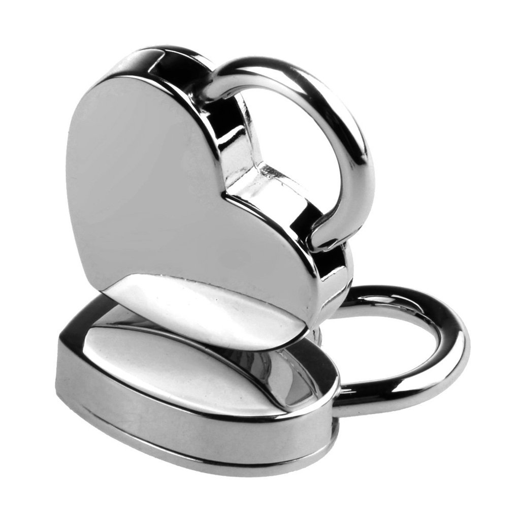 MagiDeal Pack of 3 Vintage Style Mini Padlock Key Lock Heart Shaped Silver Color