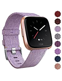 CAVN Fitbit Versa Band Woven for Women Men Replacement Fabric Quick Release Watch Woven Band for Fitbit Versa Smartwatch with Classic Square Stainless Steel Buckle (1-Lavender)