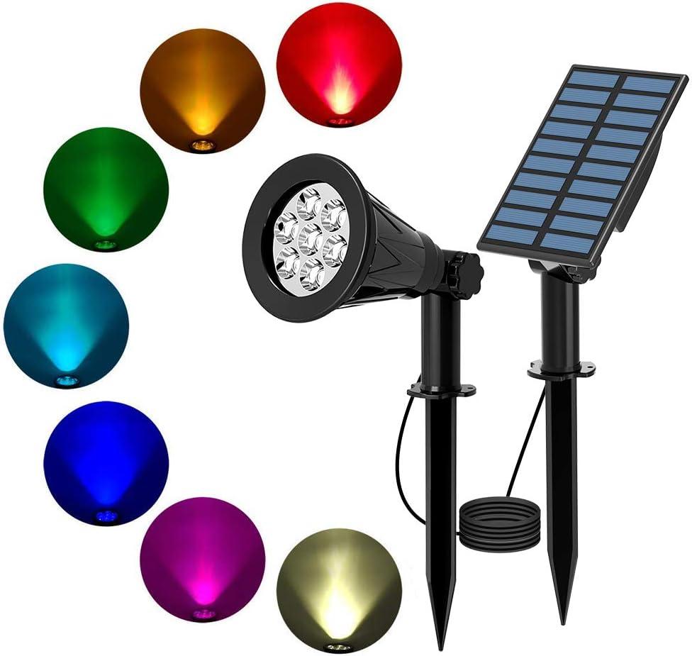 etc /Éclairage de S/écurit/é T-SUN Lampe Solaire 7 LED Spots Blanc Froid Imperm/éable /à leau Paysage Lumi/ère pour Patio//Terrasse//Cour//Escaliers Lumi/ères Solaire de Jardin LED Solaire Projecteur