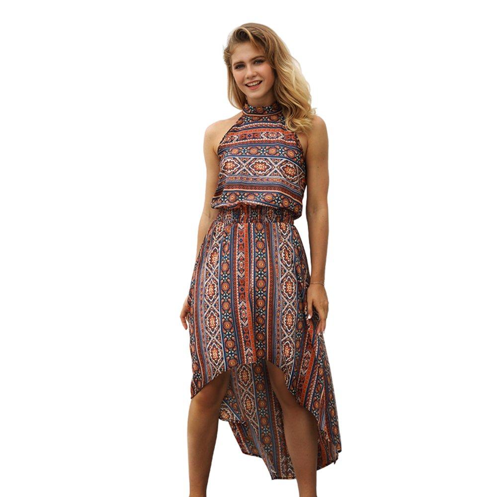 EWYZ Women's Halter Neck Floral Boho Print Summer Casual Sundress