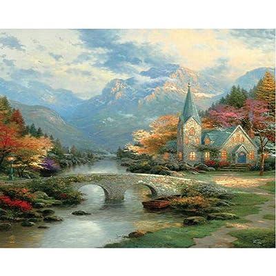 Ceaco 2202-33 Thomas Kinkade Mountain Chapel Puzzle - 300Piece: Toys & Games