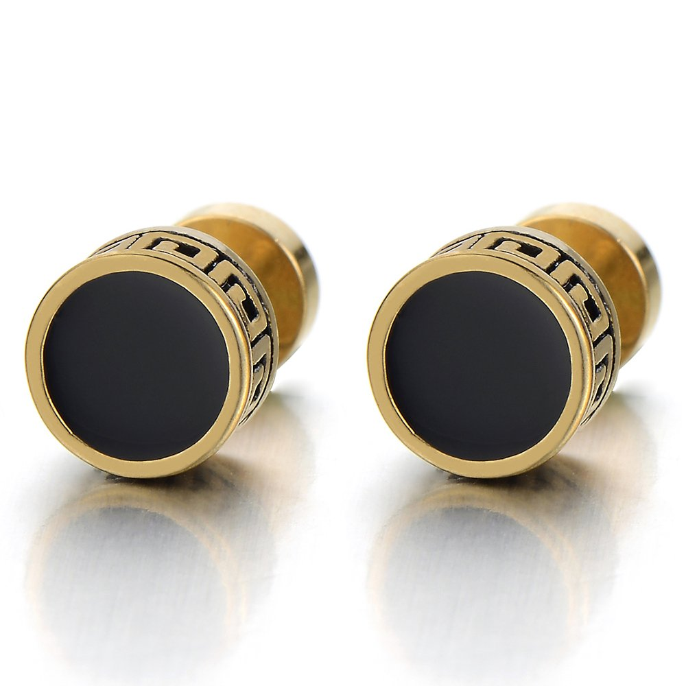 8-10MM Vintage Black Enamel Gold Circle Stud Earrings for Men Women Steel Cheater Fake Ear Plugs Gauges(CA) COOLSTEELANDBEYOND ME-166-A-10-CA
