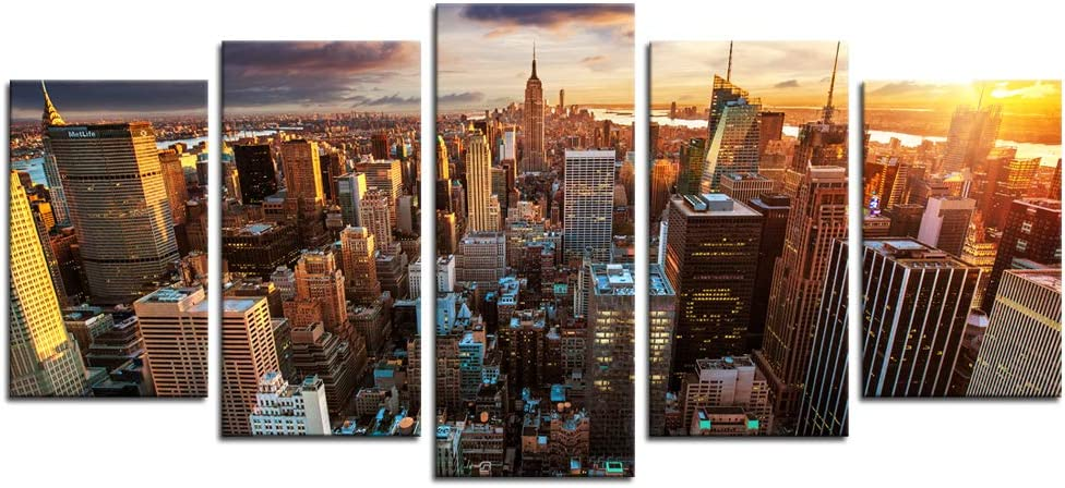 Biuteawal Canvas Wall Art New York City at Sunset Picture Canvas Print 5 Piece City Artwork Modern Home Office Decor Stretched and Framed Ready to Hang