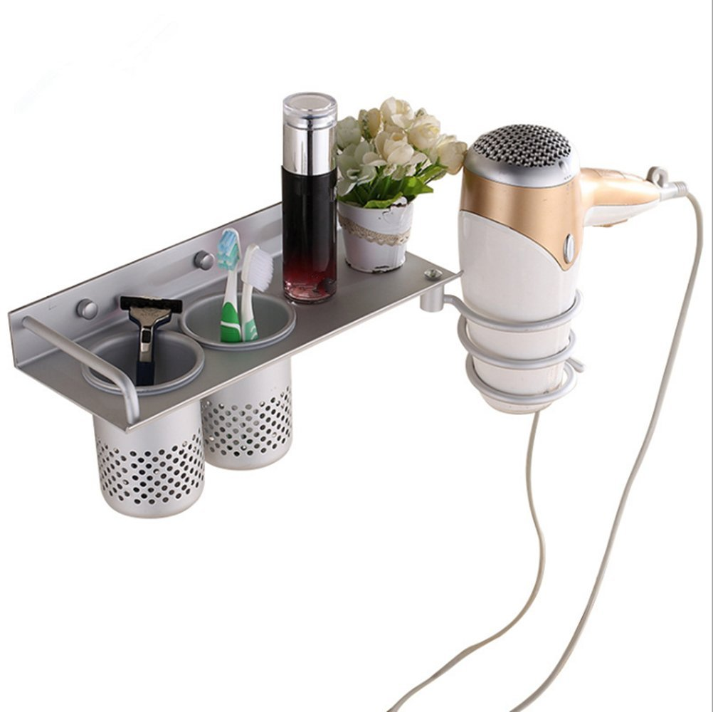 Multifunctional Hair Dryer Holder,Wall Mount Hair Dryer Hanging Rack,Spiral Blow Dryer Holder,Space Aluminum Toothbrush Holder,Bathroom Organizer with 2 Cups for Hair Dryer/Toothbrush Storage (Type 1)