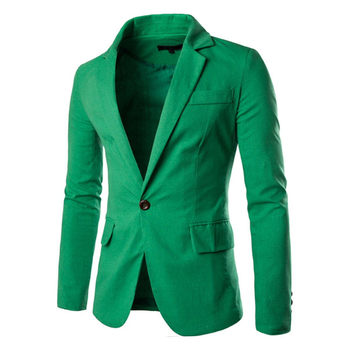 Pishon Men's Linen Blazer Lightweight Casual Solid One Button Slim Fit Sport Coat, Green, Tag Size XXXXL=US Size XL