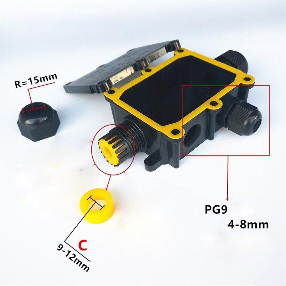Acoplador externo el/éctrico negro prensaestopas 9-12mm Di/ámetro del cable El conector de cable impermeable al aire libre de la caja de empalmes puede 3 v/ías IP68 4 Puertos