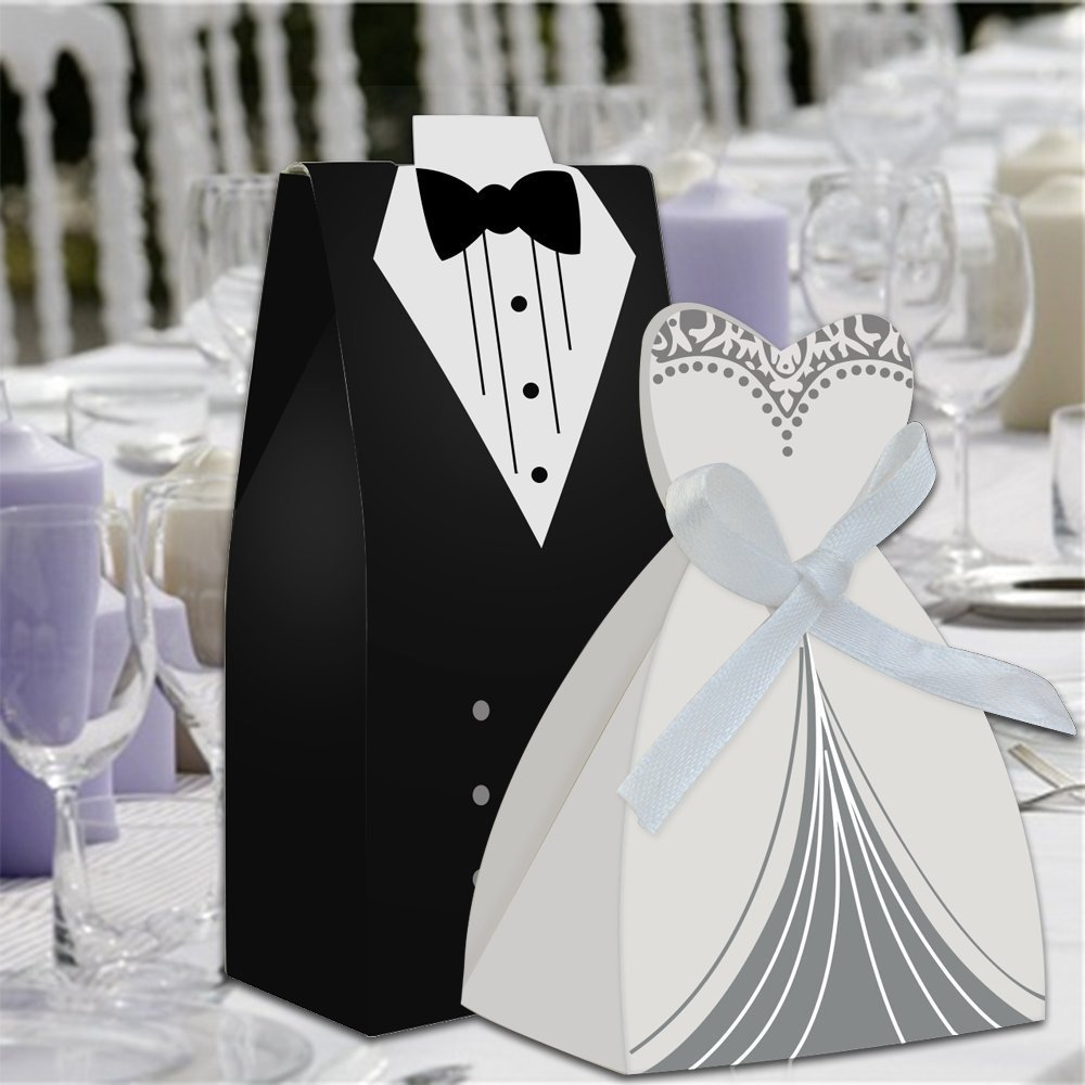DoTech 100pcs Wedding Favor Candy Boxes Bride and Groom Candy Gifts ...