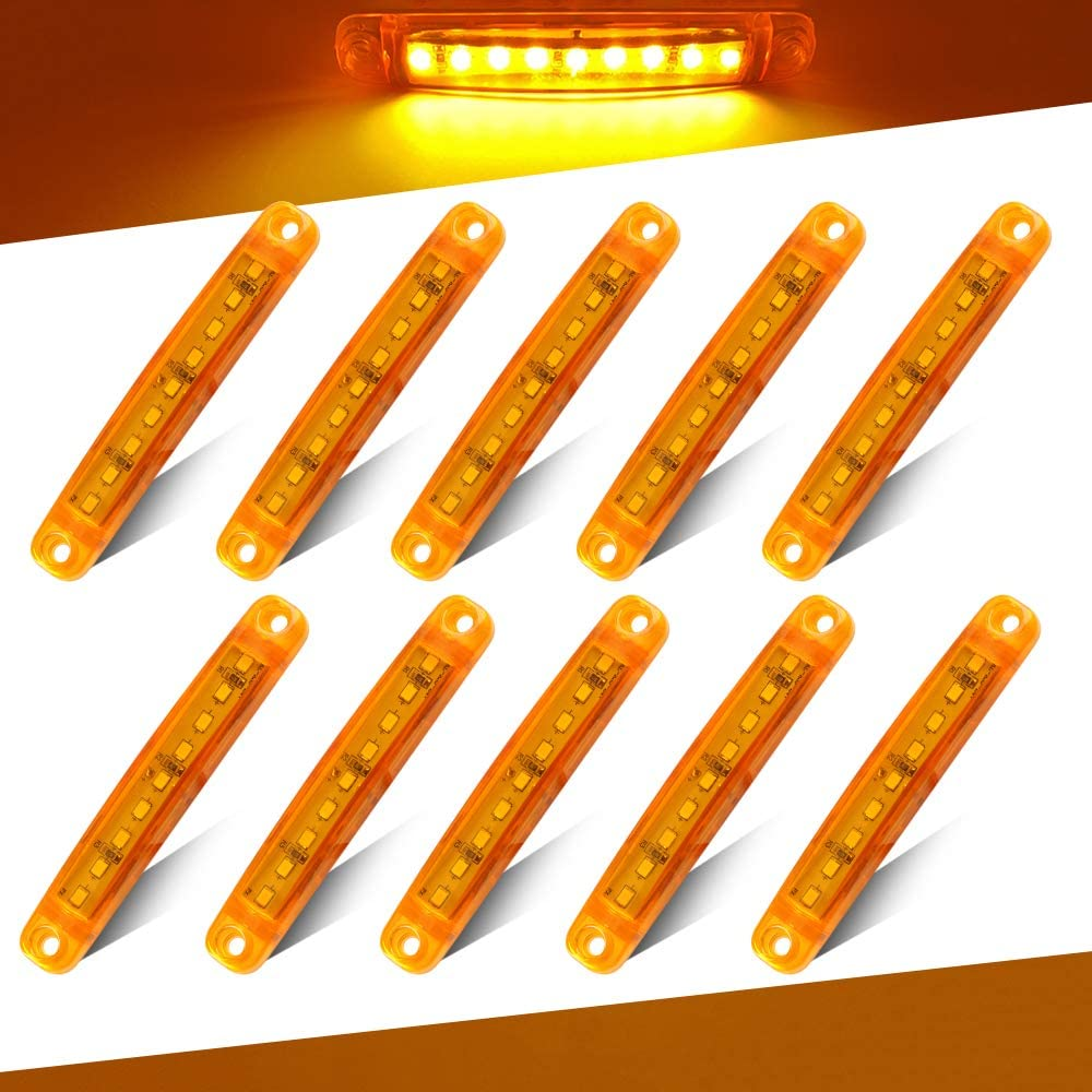 Teguangmei 10Pcs 12-24V 3.9 Thin Blue Led Side Marker Indicator Lights 9LED Waterproof for Trailer Clearance Lights Truck Position Lights Lorry Warning Lights