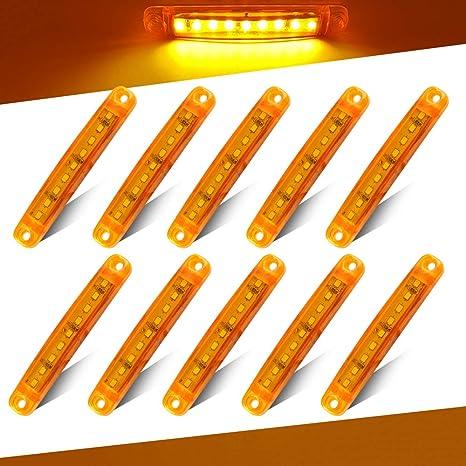 PolarLander Indicatori laterali a LED per auto o camion color ambra blu 10 pezzi da 24 V impermeabile