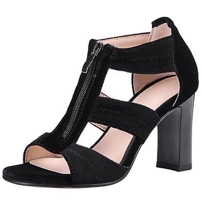 Artfaerie Women s High Heels T-Bar Pumps with Zip Open Toe Block Heel  Sandals Summer