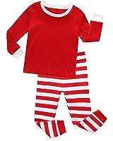 TinaLuLing Kids Red and White Striped Pajamas Girls Pajamas Christmas Pajamas for Kids(2-8Years)