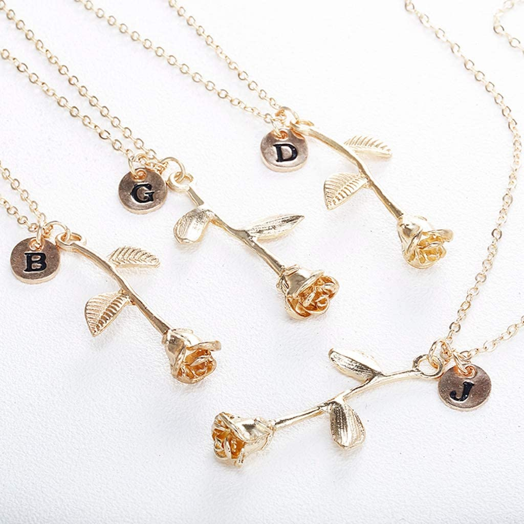 Xxxx Dtjscl 4 Trendy Summer Gold Color Rose Shaped Pendant Necklace for Women Party Jewelry BFF Charm Colar Rose Necklace