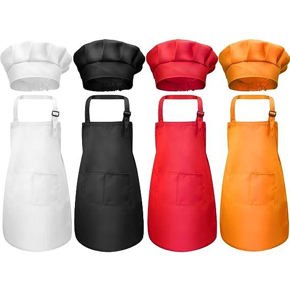 8 Pièces Tablier Enfant et Chapeau de Chef Set, Tabliers d'Enfant en Coton Ajustable pour Garçons Filles avec Tablier de Cuisine à 2 Poches pour Cuisine Boulangerie Porte (Couleur 1, Moyen)