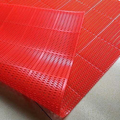 GHHQQZ バスルームのカーペット ノンスリップ 疎水性 中空デザイン PVC フットパッド キッチン スイミングプール バスルームラグ、 3色、 厚さ0.4 cm 複数のサイズ (Color : Red, Size : 60x90cm)
