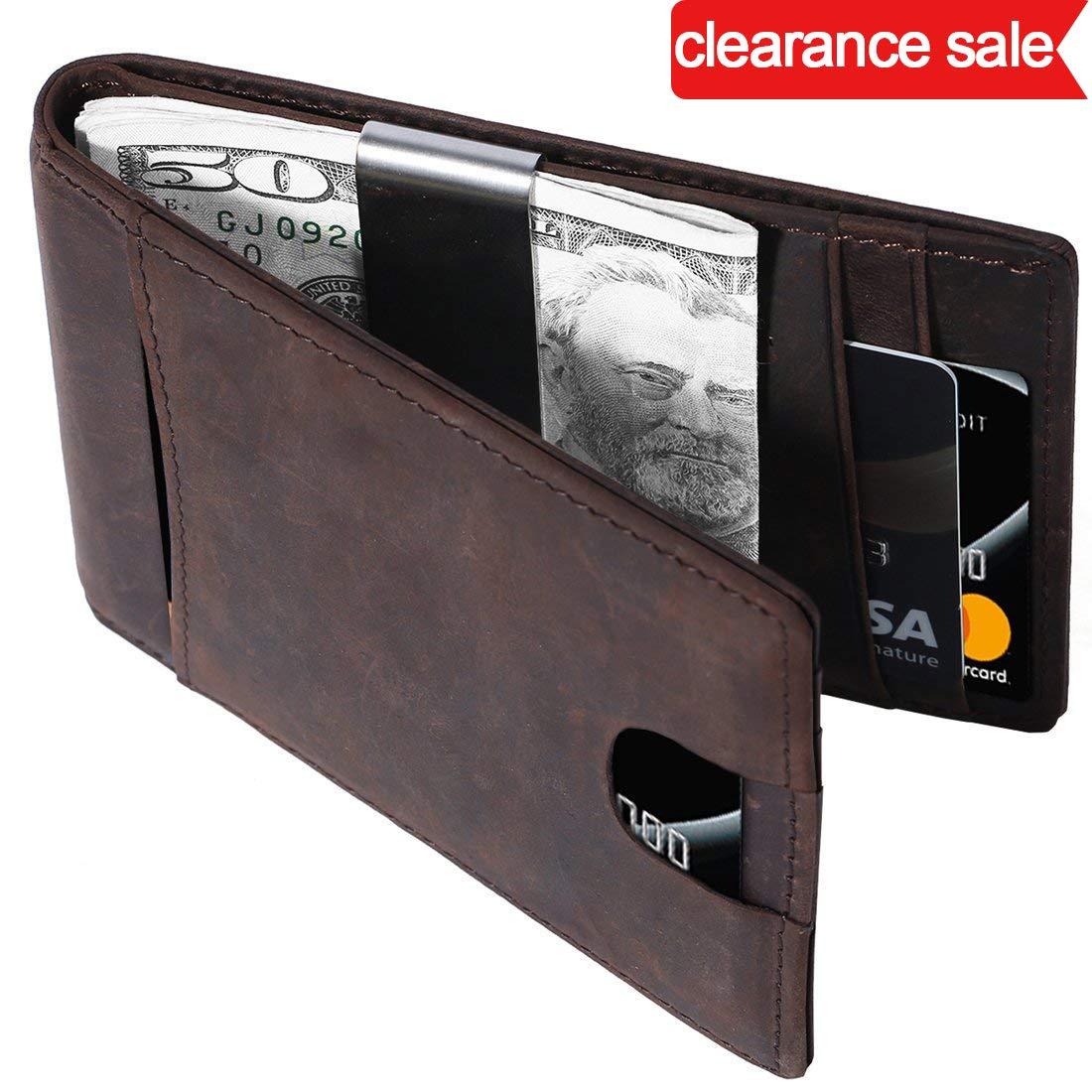 Porte Carte en Cuir Véritable Portefeuille Monnaie Etui RFID Blocage 11 Fentes pour Cartes, 100% Shields ondes radio NFC et RFID (Brown)