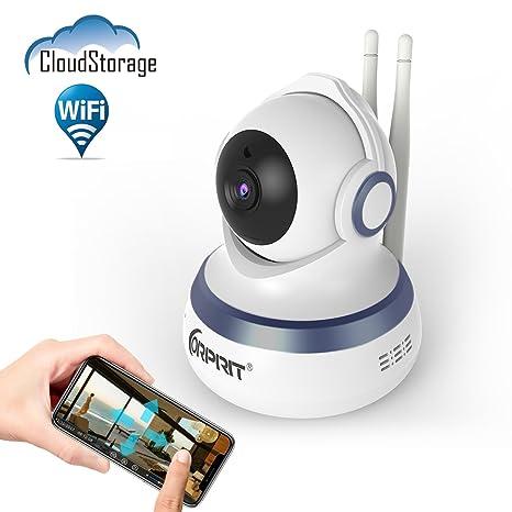 Cámara de Seguridad IP WiFi CORPRIT con Almacenamiento en la Nube, Cámara de Videovigilancia HD 720p con P2P, Audio bidireccional, IR-CUT, Visión ...