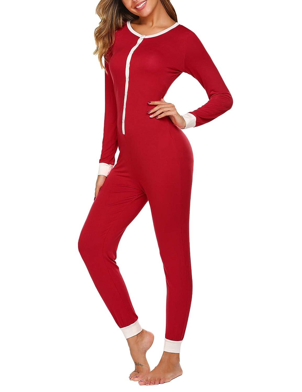 Womens Onesie Ladies Pyjamas One Piece Jumpsuit Pajamas Thermal Nightwear Sleepwear