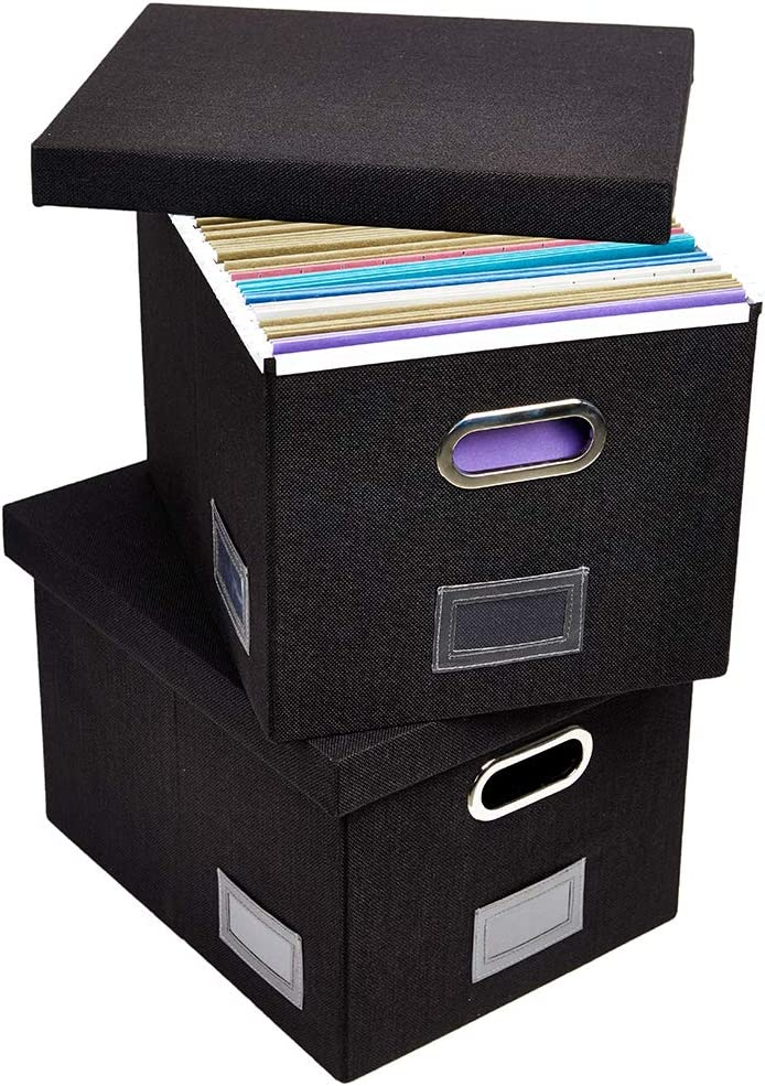 Superjare Updated File Box for Hanging Files, Set of 2, Storage Office Box with 60 lbs Weight Capacity, Durable MDF Board & Linen Fabric, File Storage Organizer for Letter/Legal - Black