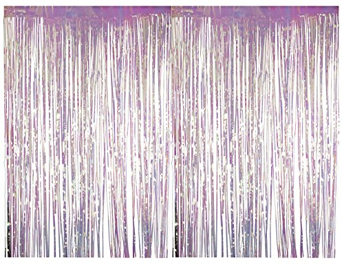 (Foil Fringe Curtains - 2-Pack Holographic Foil Curtain, Metallic Tinsel Foil Fringe Curtain for Wedding Photo Backdrop, Birthday Party Decoration, Photo-Booth Background, 8 x 3 Feet)