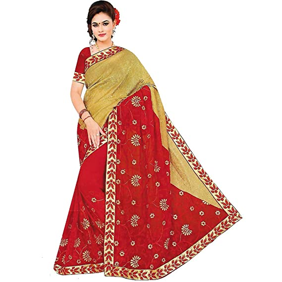 ee3ae60cd48425 Art Fusion Red & Golden Georgette Saree Thread Work With Blouse: Amazon.in:  Clothing & Accessories