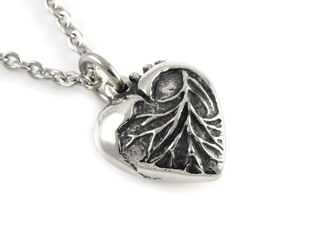 Anatomical Heart in Shape of a Traditional Heart Necklace in Pewter