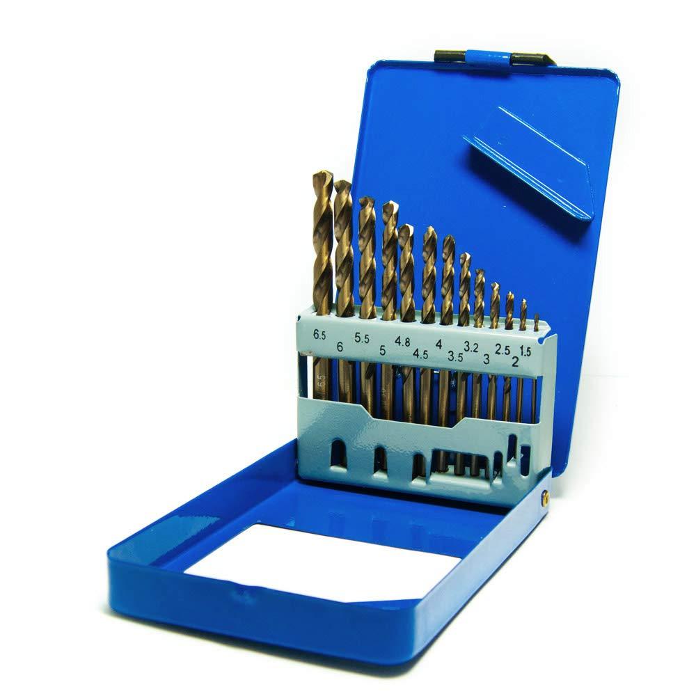S&R Punte Metallo Rettificate HSS Acciaio COBALTO. Set 13 Punte Professionali per Trapano a Percussione. Scatola di Metallo. product image
