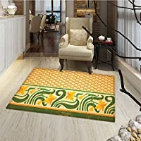 Art Nouveau Bath Mats Carpet Fresco Ornament Geometric Pattern with Exotic Daffodil Floral Border Door Mats for inside Non Slip Backing 24x36 Orange Yellow Green