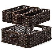 EZOWare 4 Piece Resin Woven Storage Basket Set, Decorative Wicker Tray Shelf Drawer Organiser Bin Containers for Kitchen…
