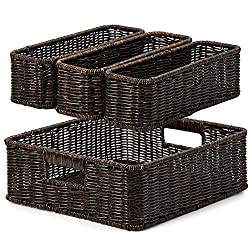 EZOWare 4 Piece Resin Woven Storage Basket Set, Decorative Wicker Tray Shelf Drawer Organiser Bin Containers for Kitchen…